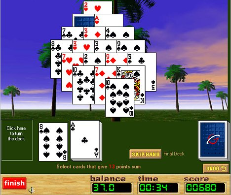 pyramid solitaire 13